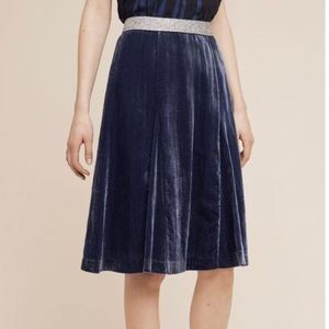 Anthropologie Maeve Blue Velvet skirt size 6
