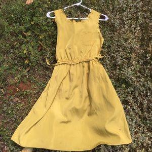 Dresses & Skirts - Chartreuse shift dress,eyelet detail around neck