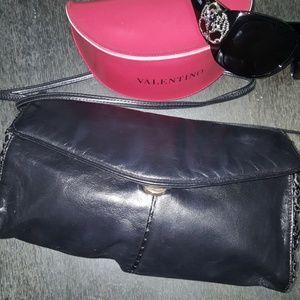 Handbags - Black vintage leather crossbody clutch