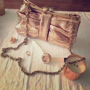 Handbags - Rose gold metallic bag!