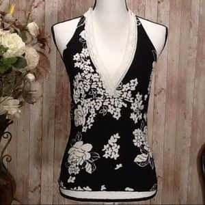 Rave Tops - Summer Halter Top Size XSmall Black White Floral