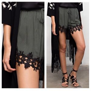 clmayfae Pants - Hunter Green Lace Trim Silky Shorts