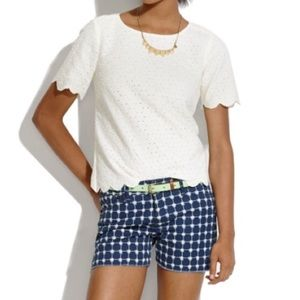 Madewell Pants - Madewell Navy White Grid Print Denim Shorts