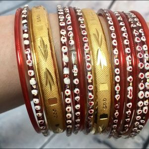 Jewelry - Red Glass and Gold Bangles Set: Bundle and Save!