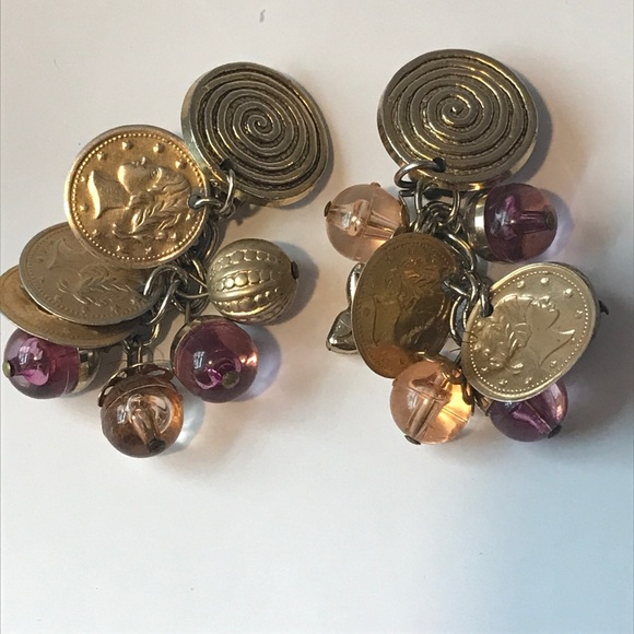 Vintage Jewelry - Vintage coin glass bauble clip earrings