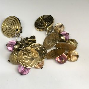 Vintage Jewelry - Vintage coin glass bauble gypsy clip earrings
