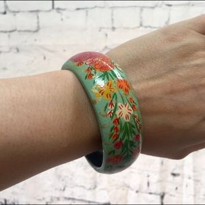 Jewelry - Green and Floral Handpainted Wood Bangle