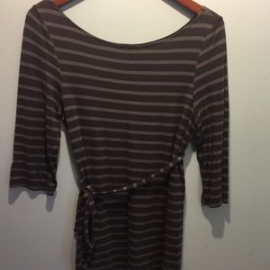 Gray striped top with belt
