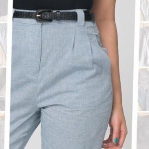 American Apparel High Waisted Chambray Pleat Pants