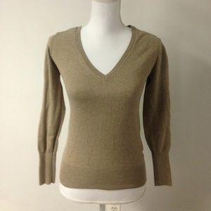 Zara Knit V-Neck light tan spring sweater