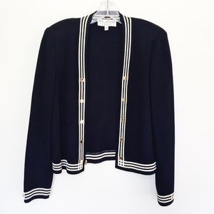 St. John Knits Black and White Cardigan