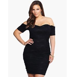 torrid Dresses & Skirts - Torrid Black Lace Off Shoulder Bodycon Mini Dress