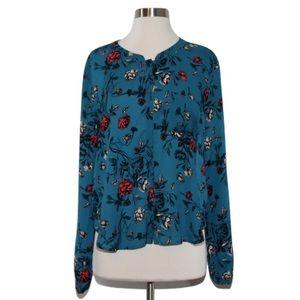 ASTR Tops - ASTR Sz L Aqua Rose Floral Button Up Blouse NWOT