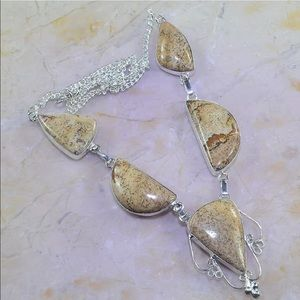 Jewelry - Jasper statement necklace silver 925 beige