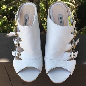 Guess Shoes - Authentic GUESS white leather buckled heels.