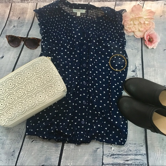Tops - Sheer Blue and White Hearts Ruffle Button-down Top