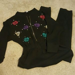 Vtg 80's Studs and Pinwheels Jumpsuit sz M