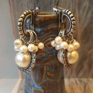 Vintage Jewelry - Vintage Pearl Dangle Earrings Cha Cha Chunky