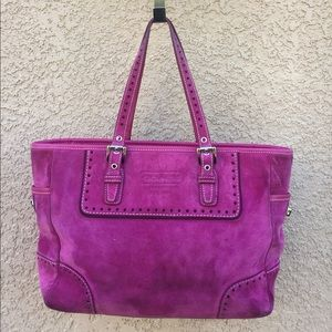 COACH hot pink suede leather bag