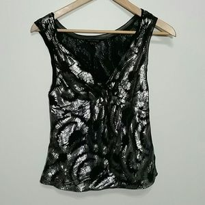 The Limited Silk Sleeveless Top XS Silver Black