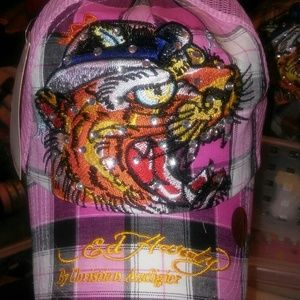 Ed Hardy Accessories - NWT! PINK PLAID ED HARDY BLING CAP*