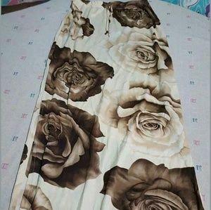 rave Dresses & Skirts - 90s raver brown rose maxi skirt!