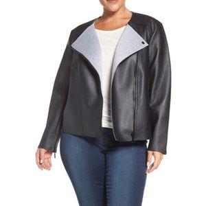 Michael Kors black Bonded Faux Leather Jacket