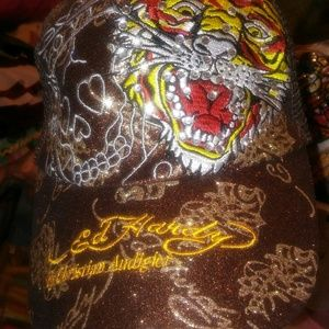 Ed Hardy Accessories - NWT!Sexy Brown Bling ED Hardy Ballcap*