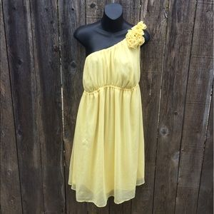One shoulder yellow chiffon dress with flowers