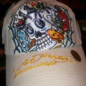 Ed Hardy Accessories - NWT! Cool Cream ED Hardy Bling Ballcap*