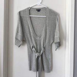 Armani Exchange Sweaters - ARMANI EXCHANGE BELTED SOFT GRAY SWEATER