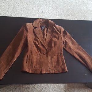 100% Leather Brown Suede Leather Jacket - Size 2
