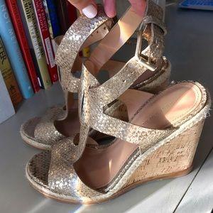 Sigerson Morrison Shoes - Sigerson Morrison Metallic Snake Cork Wedges