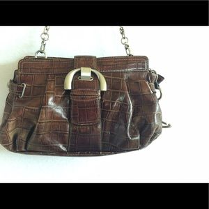 B Makowsky Handbags - B.  Makowsky Leather Handbag Brown Croc Textured