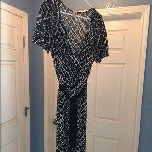 Black and white leopard print faux wrap dress