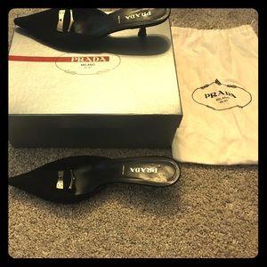 Prada black dress shoes, kitten heel