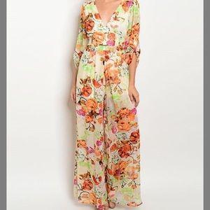 Other - Brand new floral v back jumpsuit
