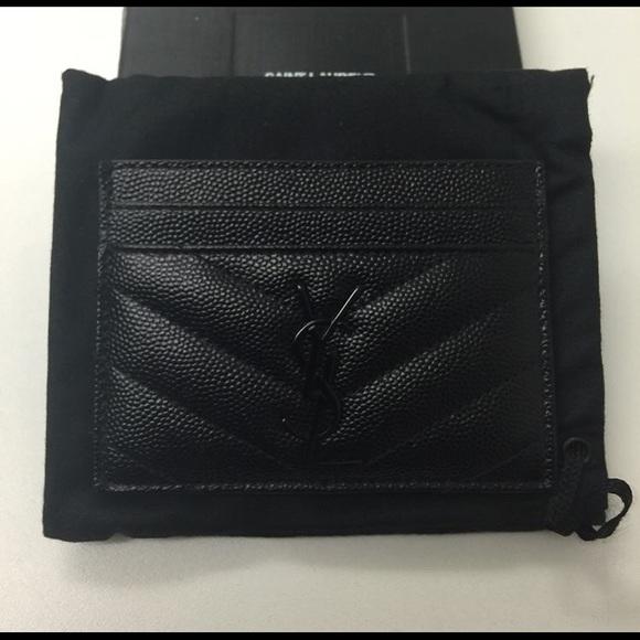 online store a3f90 e7d18 Black Ysl card case in chevron caviar leather. NWT