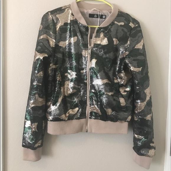 ebaa9e6d6f9bb Missguided Jackets & Coats | Army Print Sequin Bomber Jacket | Poshmark