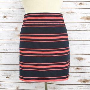 J. Crew Factory Dresses & Skirts - J. Crew Navy & Pink Striped Mini Pencil Skirt