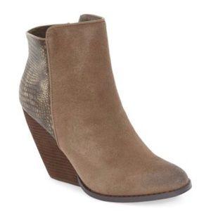 Volatile Shoes - Very Volatile Tan Suede Wedge Heel Booties