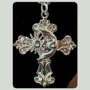 3/$30 Silver Plated Cross Sun Moon Pendent