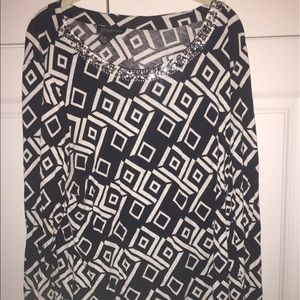 Long sleeve INC tunic w/crystals around collar.