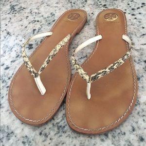 Tory Burch Shoes - Tory Burch snake skin leather flip flops
