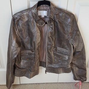 Xhilaration Jackets & Blazers - Xhilaration Bronze Snakeskin Print Zip Jacket XXL