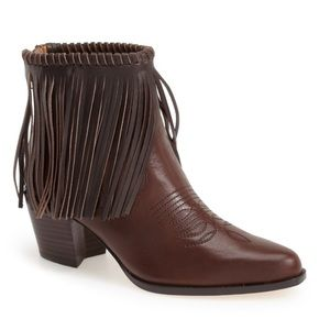Bettye Muller fringe brown cowboy booties size 8.5