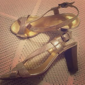 J crew gold metallic sandals