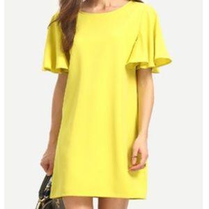 ROMWE Dresses & Skirts - Yellow Flutter Sleeve Shift Dress