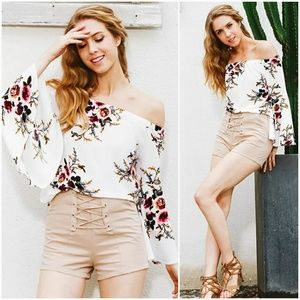 Floral Off the Shldr Bell Sleeve Top