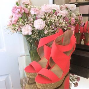 JustFab Shoes - 🚨 SALE 🚨 Just Fab Wedge Sandals Neon Coral 9M